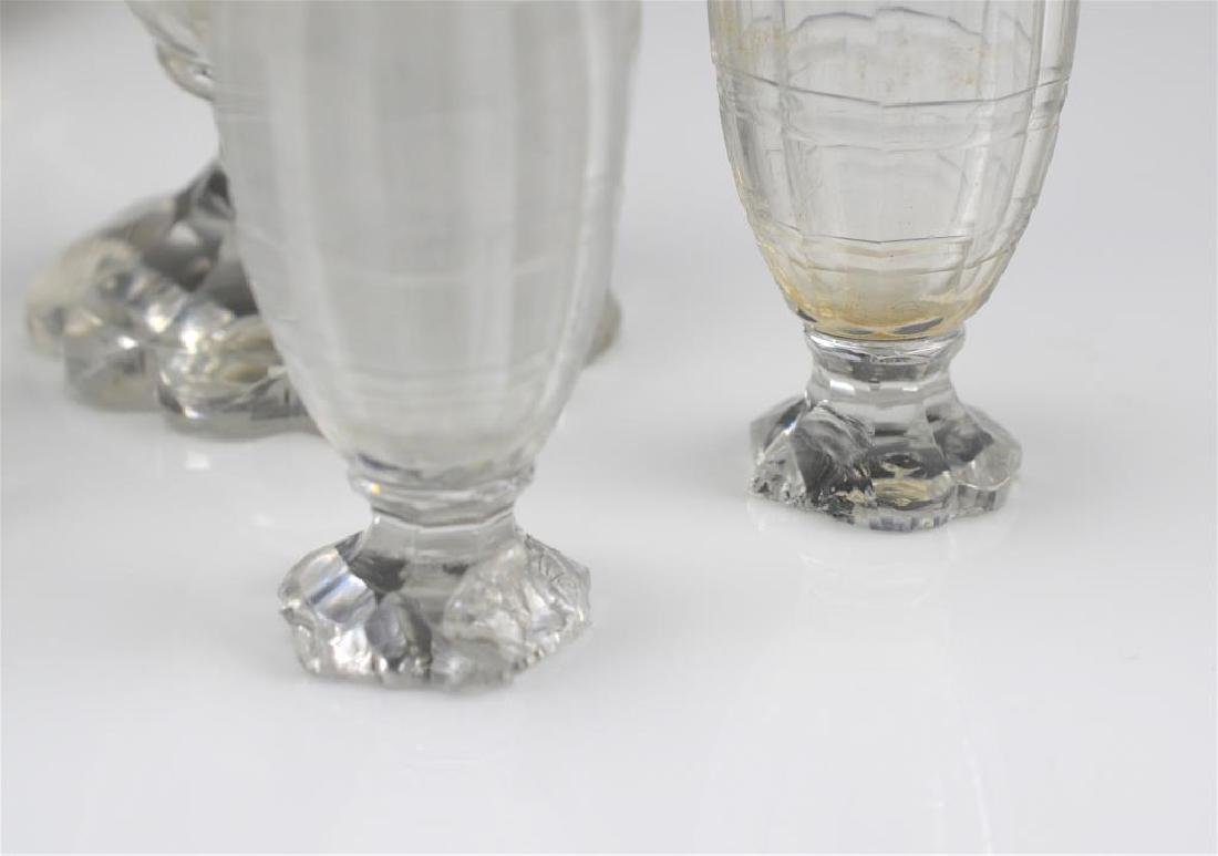 George III silver cruet stand with glass bottles - 3