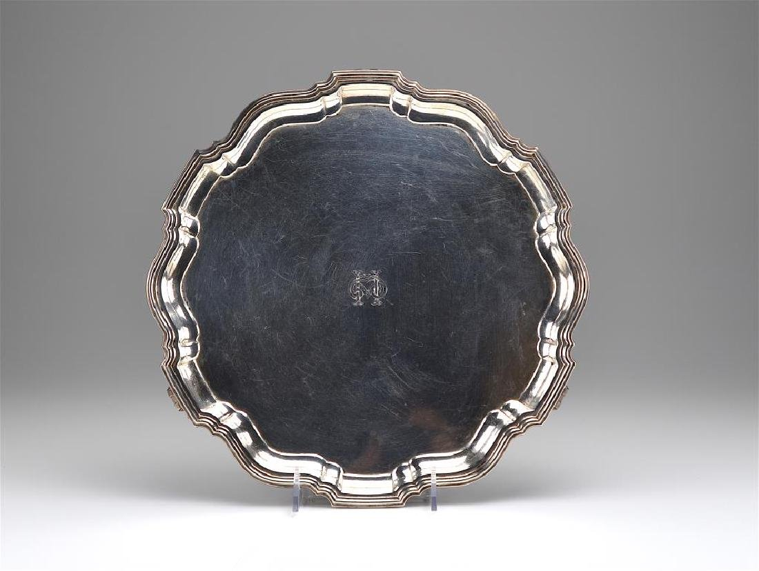 English silver footed salver