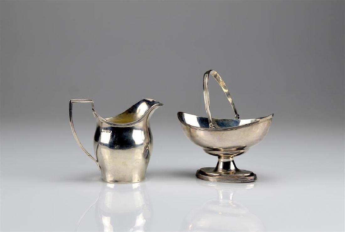 English silver cream jug and sugar basket
