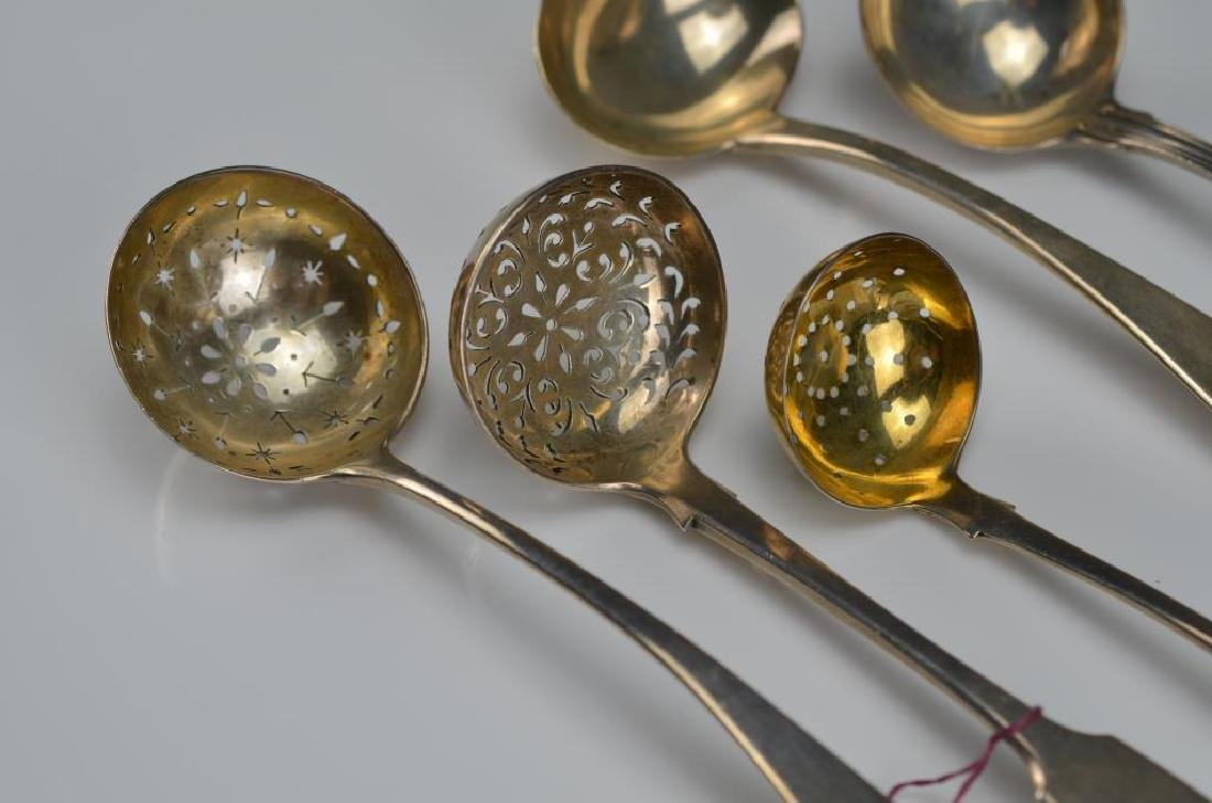 Five Georgian and Victorian English silver ladles - 2