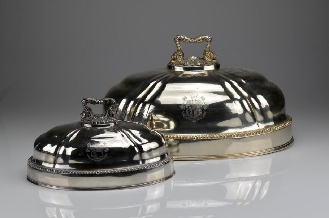 Graduated pair of Sheffield plate meat domes