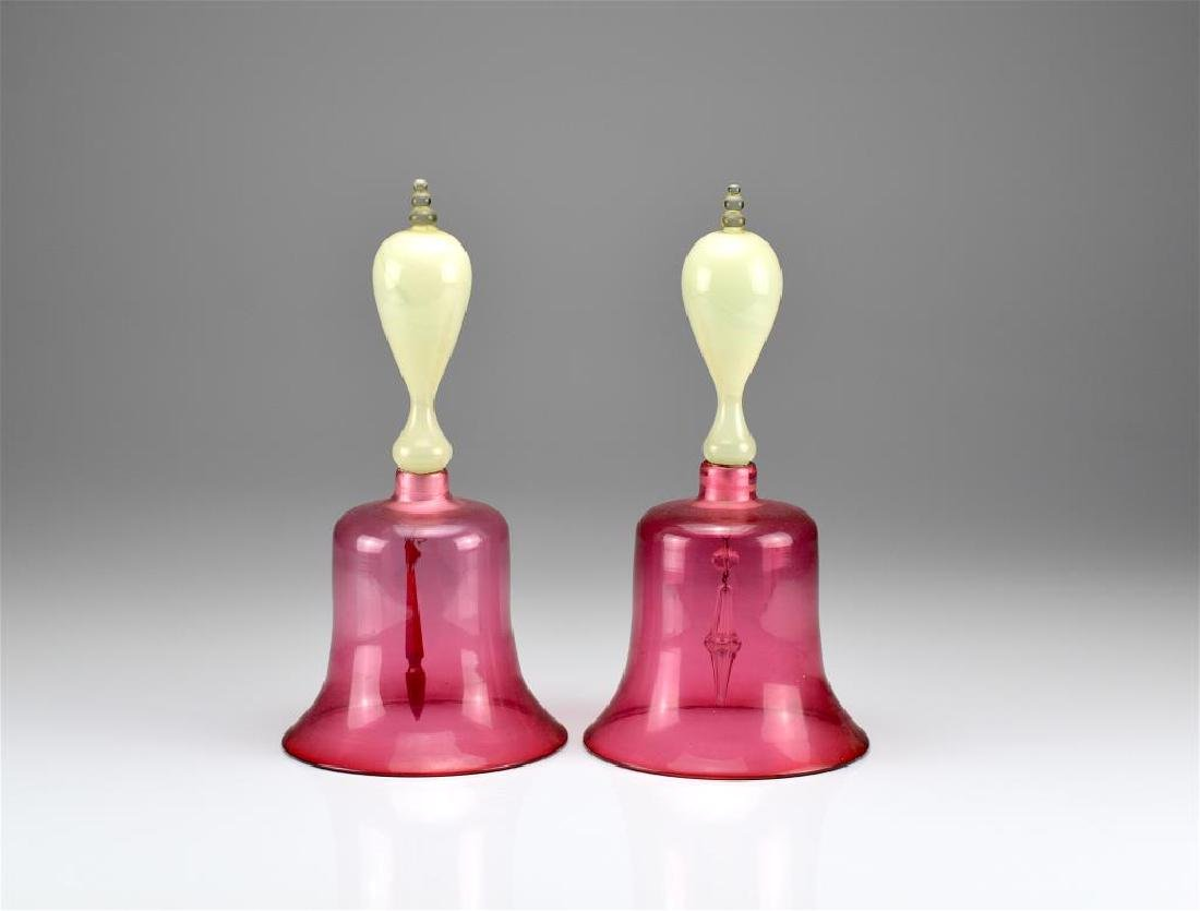 Pair of antique glass Victorian wedding bells