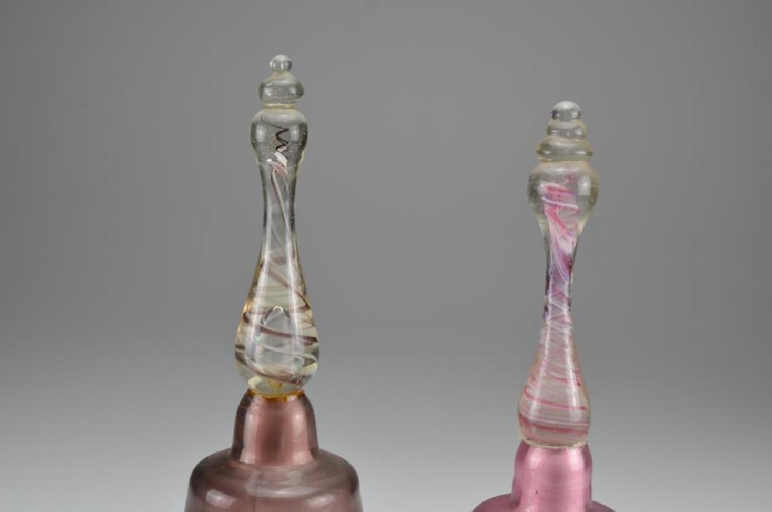 Two antique glass Victorian wedding bells - 3