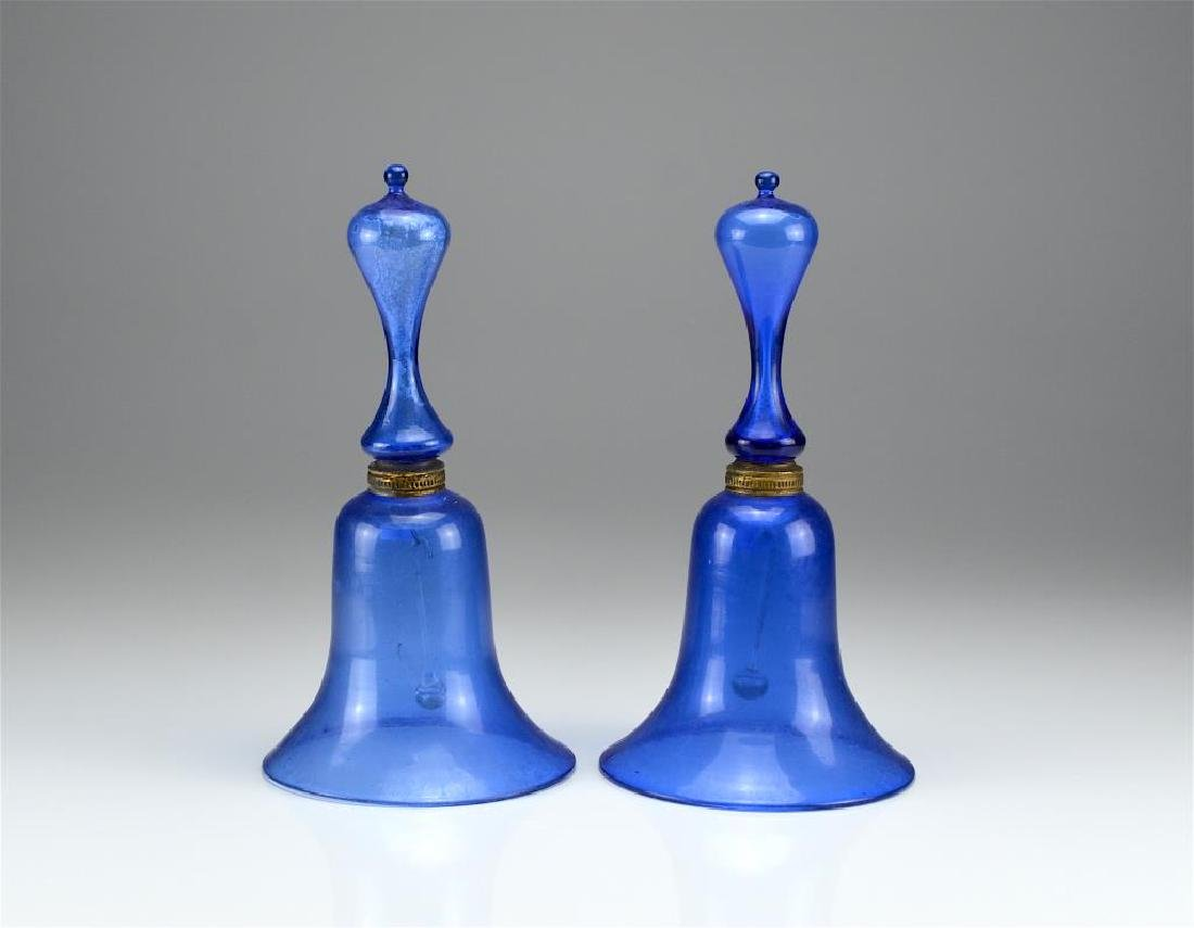 Pair of antique blue glass Victorian wedding bells