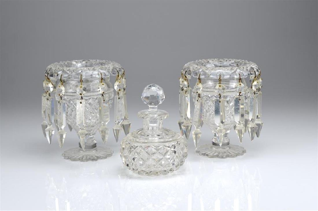 Pair of Anglo Irish cut glass lustres