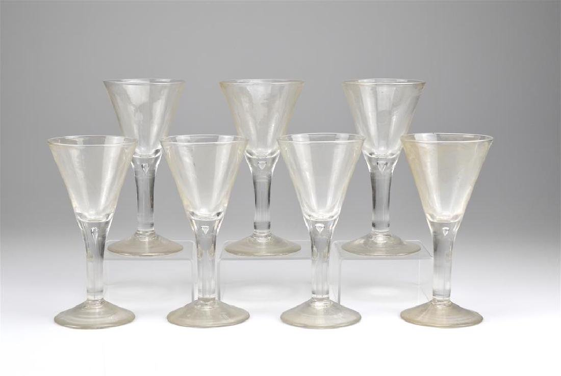 Eight trumpet form wine glasses