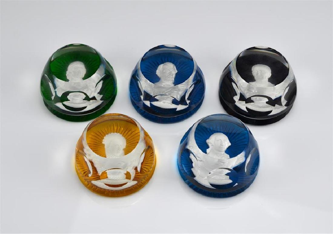 Five Baccarat Sulphide glass paperweights