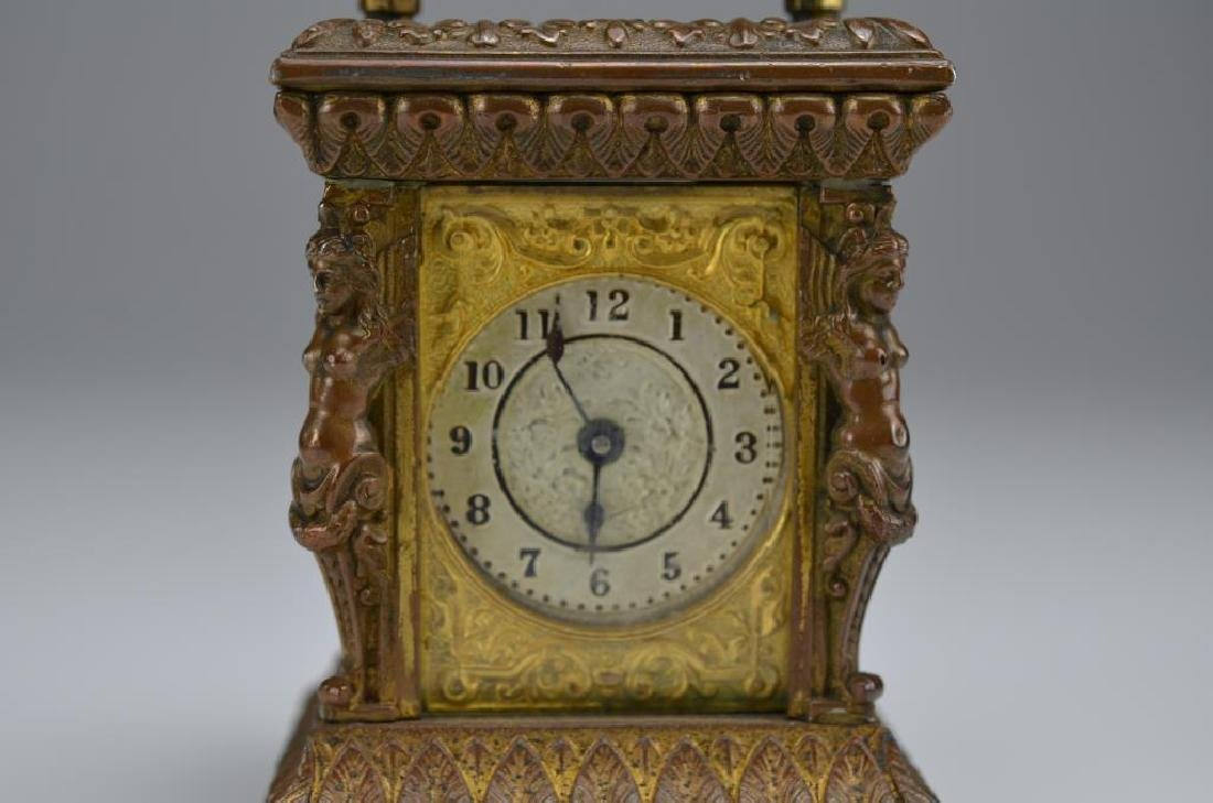 Antique patinated metal miniature mantel clock - 2