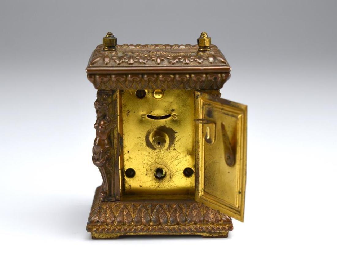 Antique patinated metal miniature mantel clock - 3