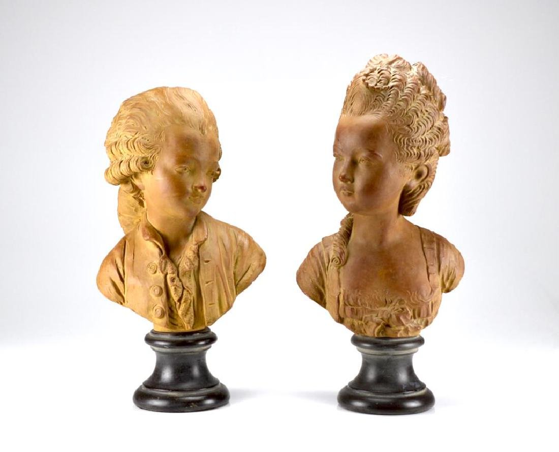 Pair of antique terracotta figural bust