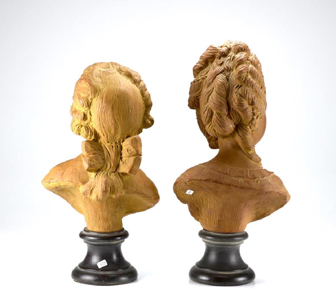 Pair of antique terracotta figural bust - 4