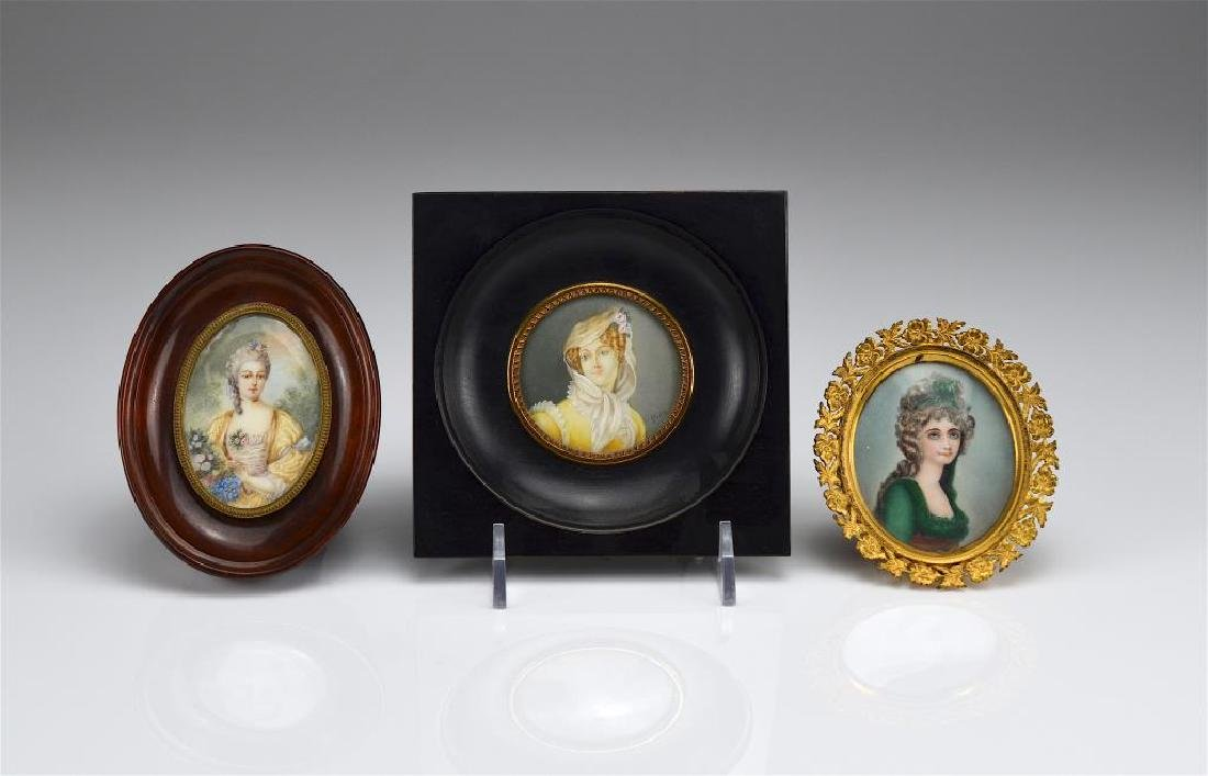 Three hand painted portrait miniatures