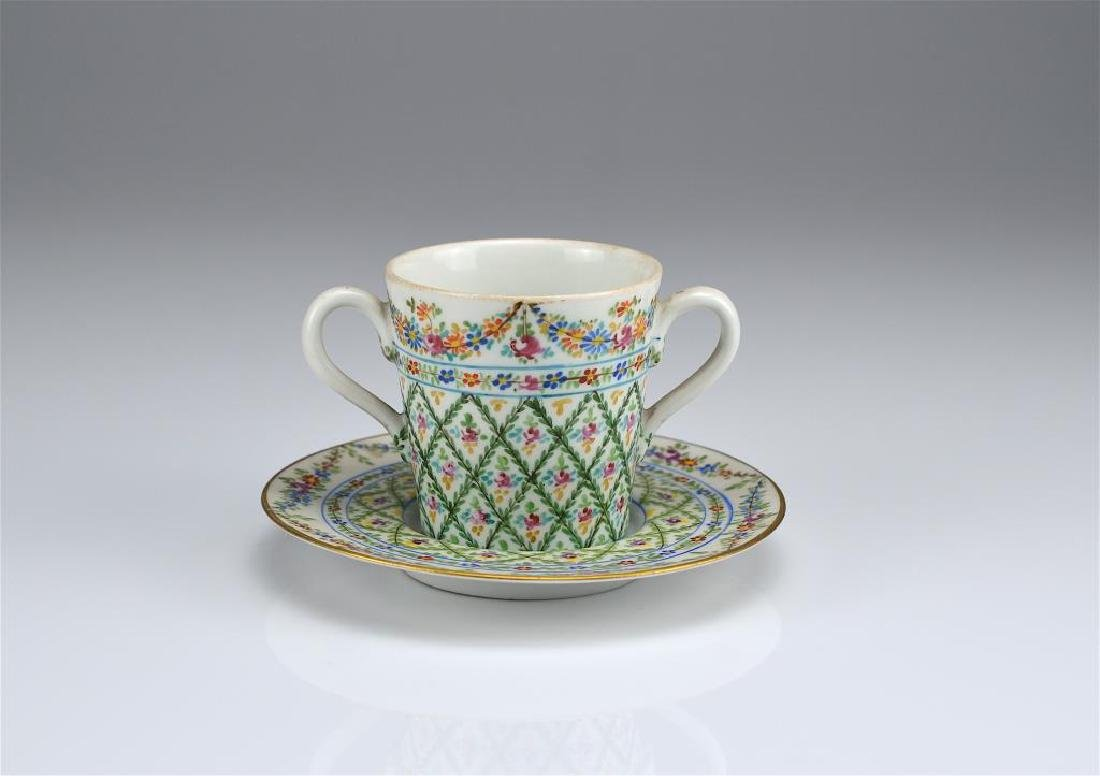 French hand painted porcelain cup and saucer