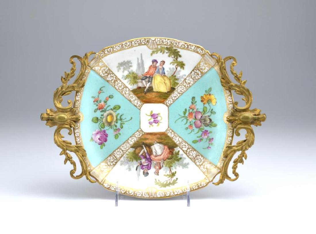 Dresden porcelain dish with bronze mounts