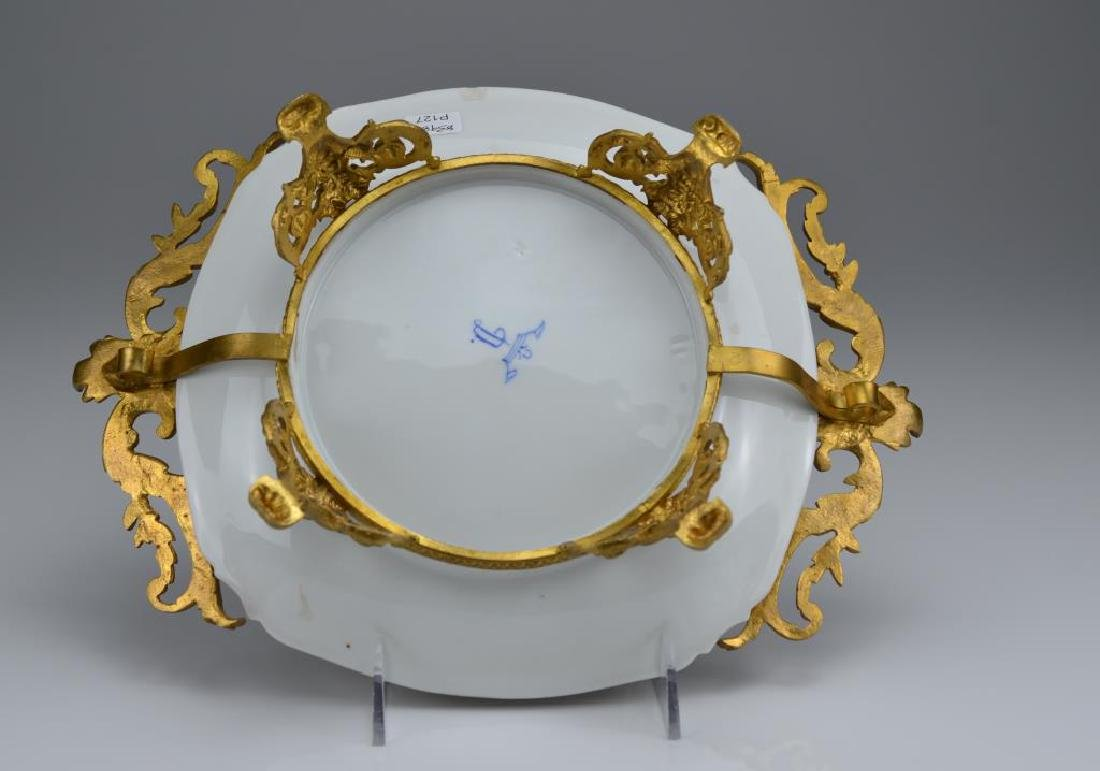 Dresden porcelain dish with bronze mounts - 4