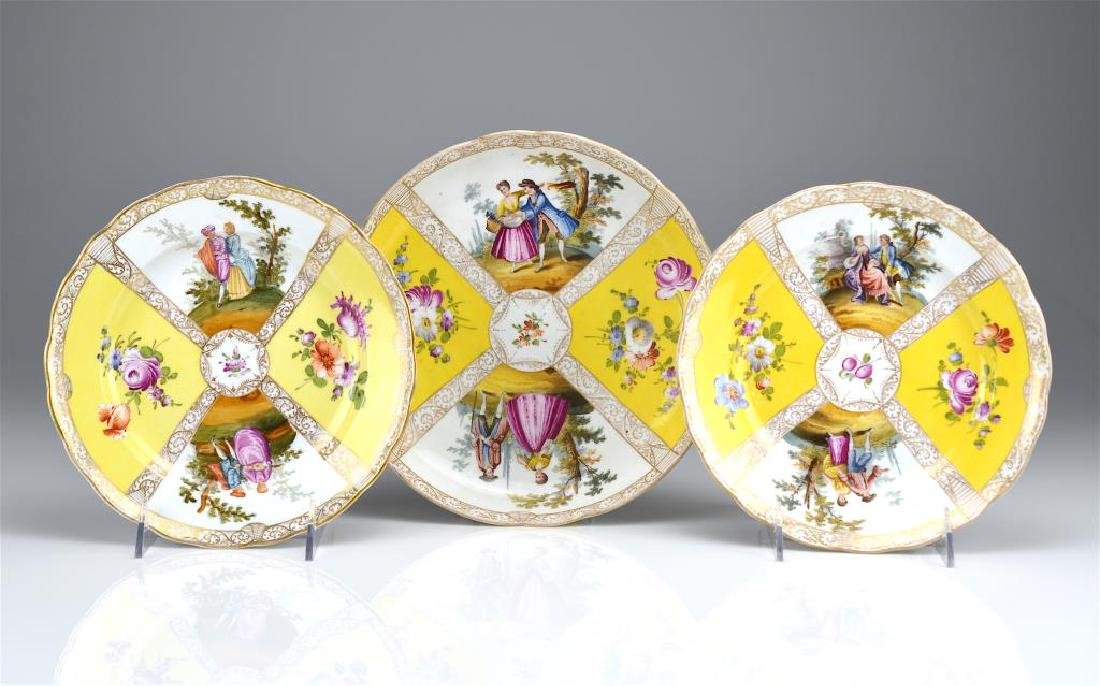 Three Dresden porcelain dishes