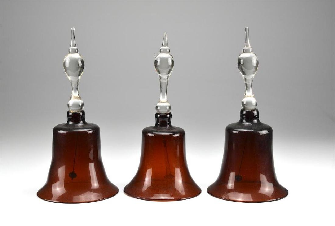 Three antique amber glass Victorian wedding bells