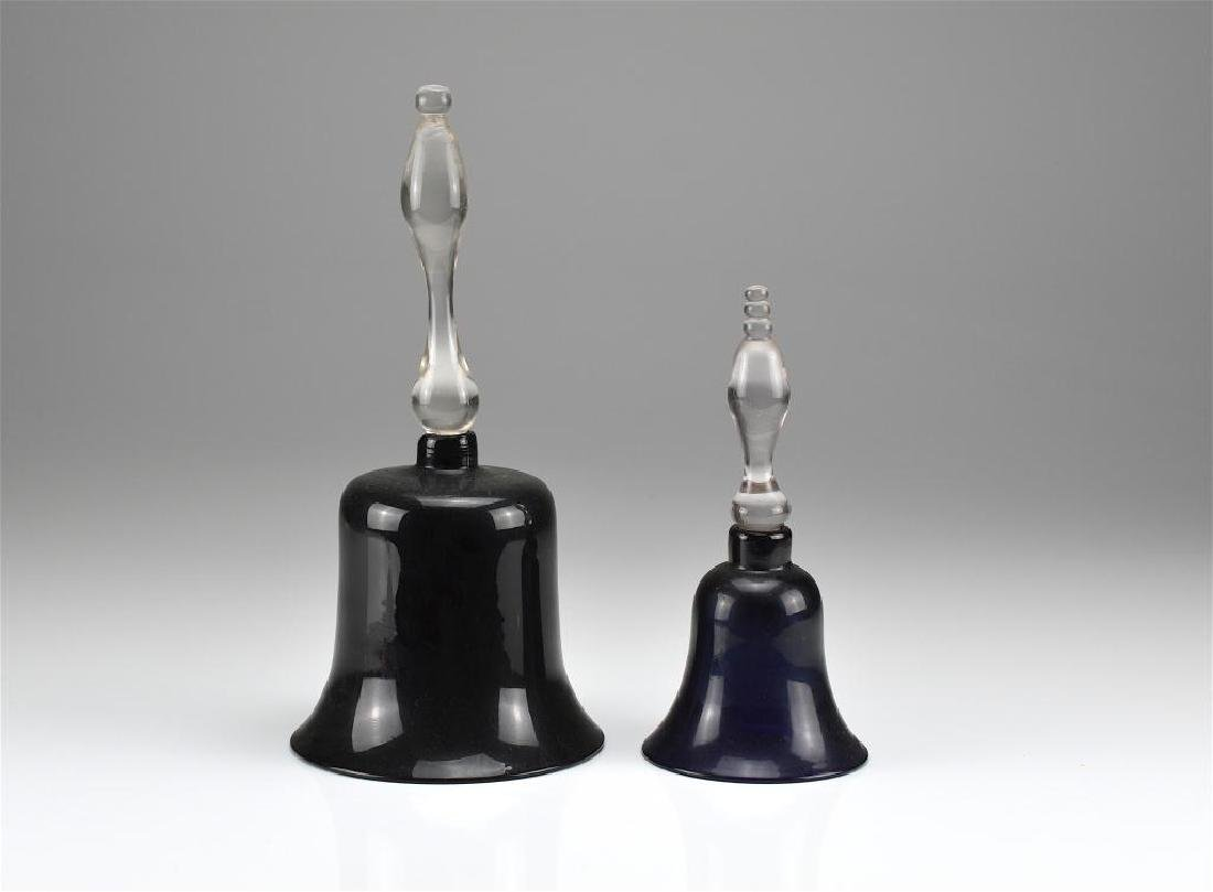 Two antique glass Victorian wedding bells