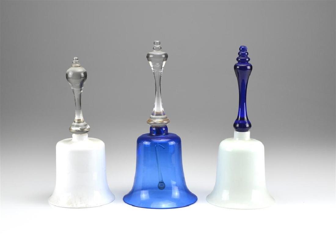 Three antique glass Victorian wedding bells
