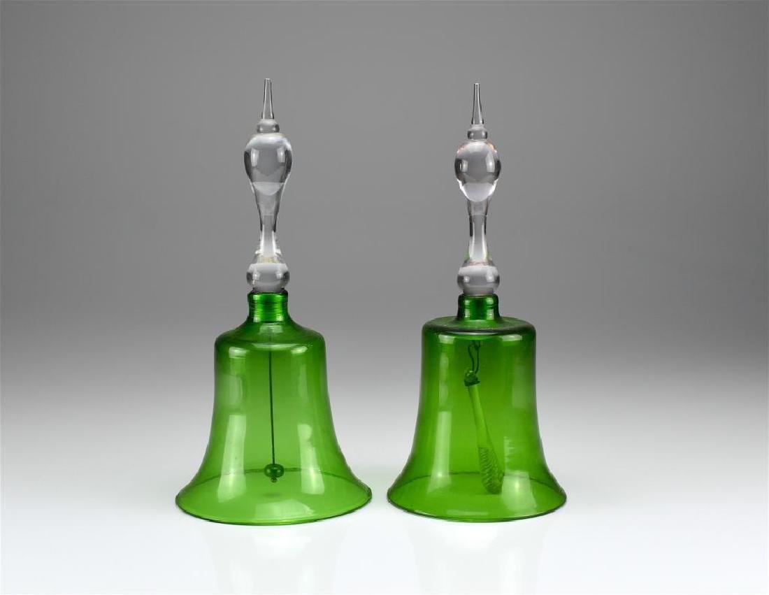 Two antique green glass Victorian wedding bells
