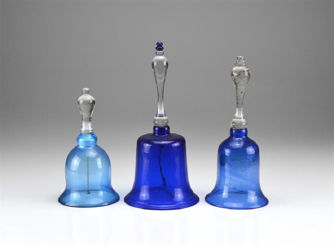 Three antique glass Victorian wedding bells