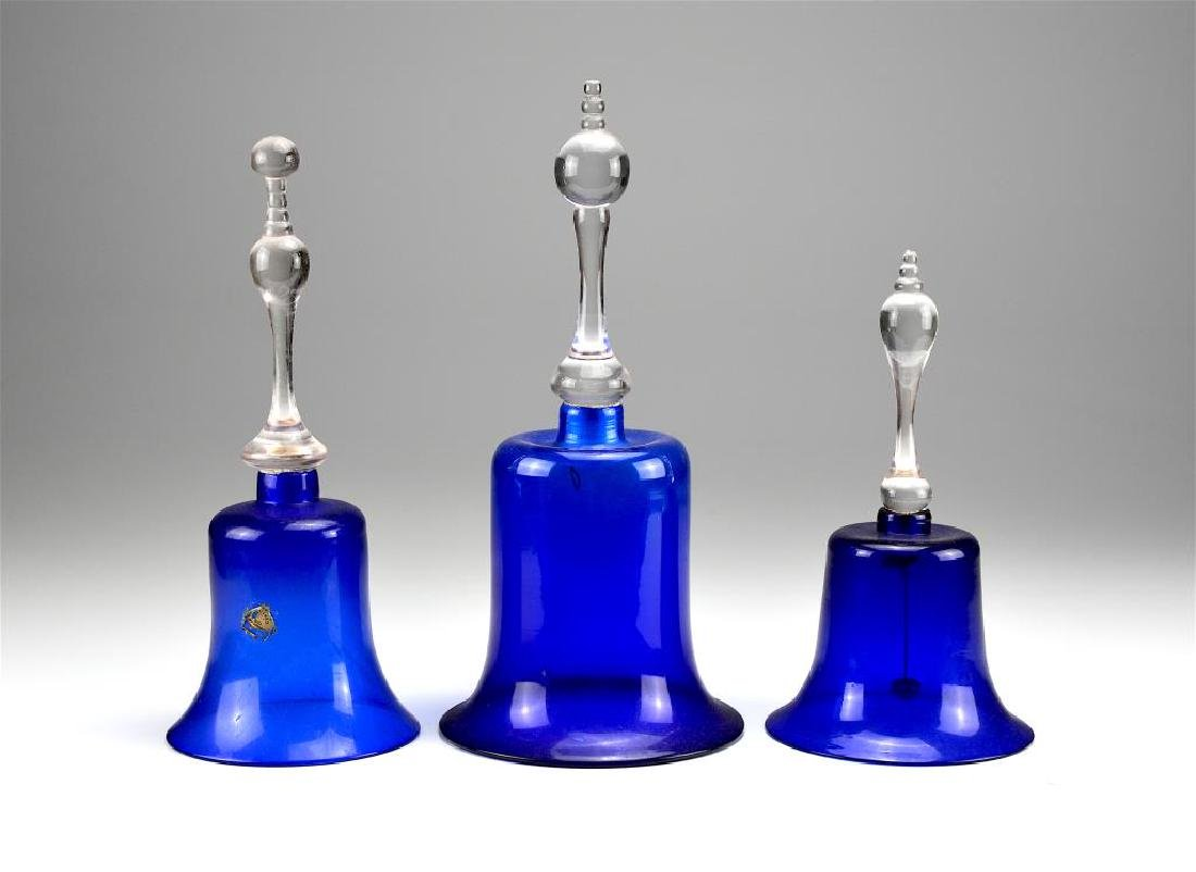 Three blue antique glass Victorian wedding bells