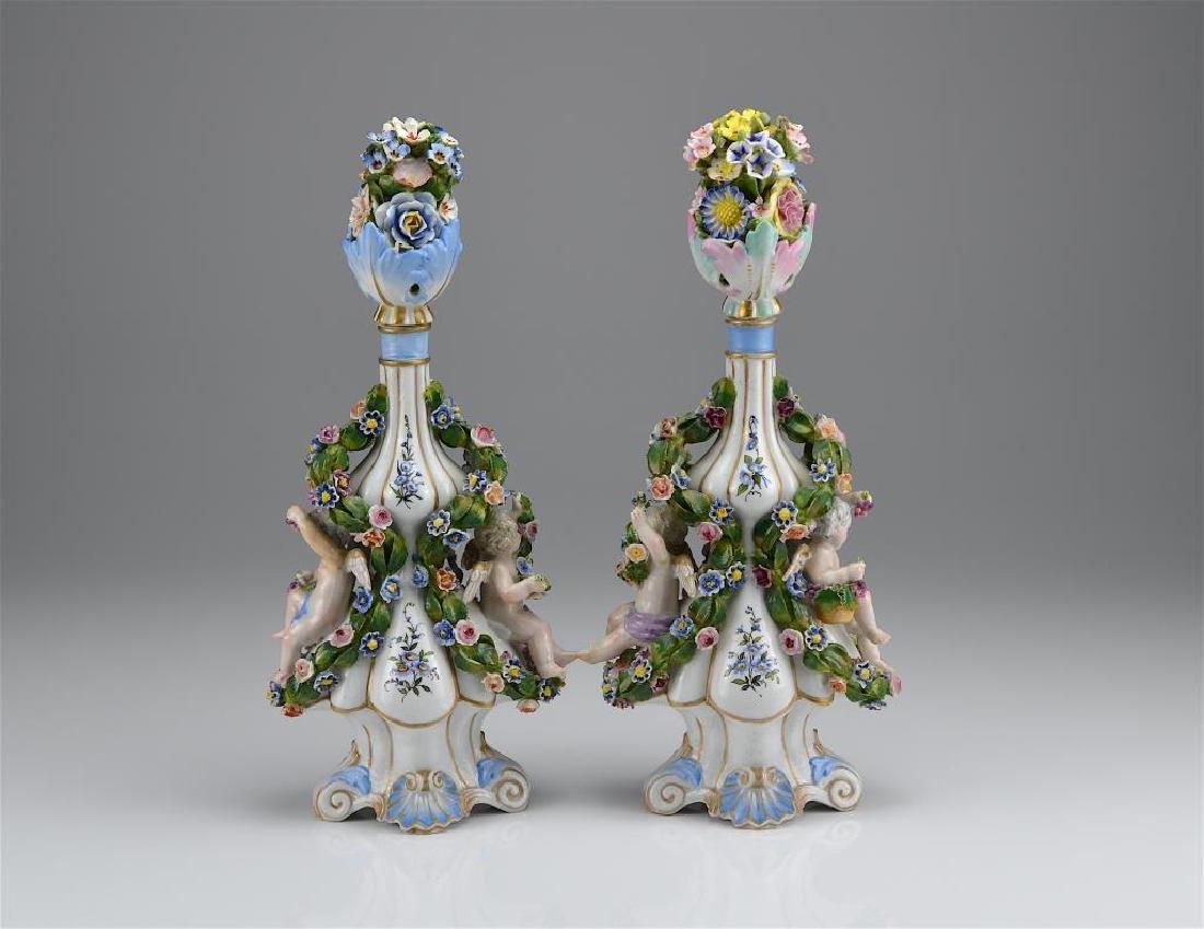 Pair of Dresden porcelain bottles
