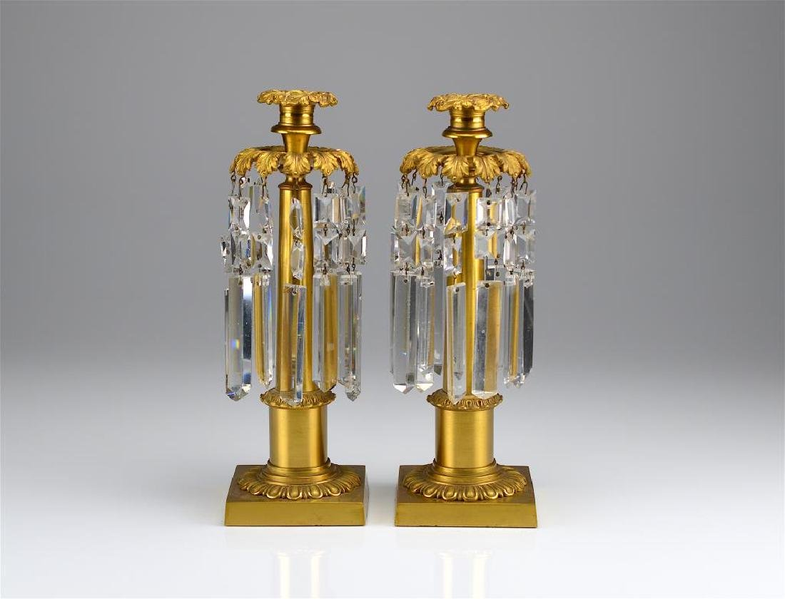 Pair of French gilt bronze lustre candlesticks