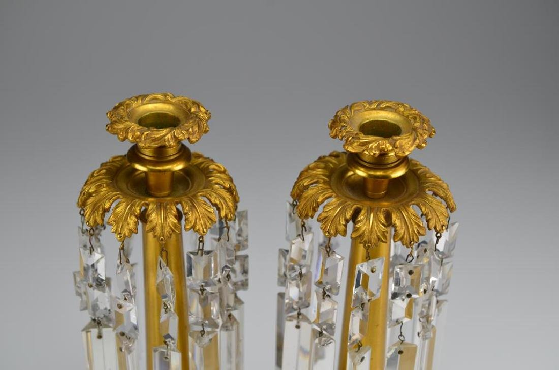 Pair of French gilt bronze lustre candlesticks - 2