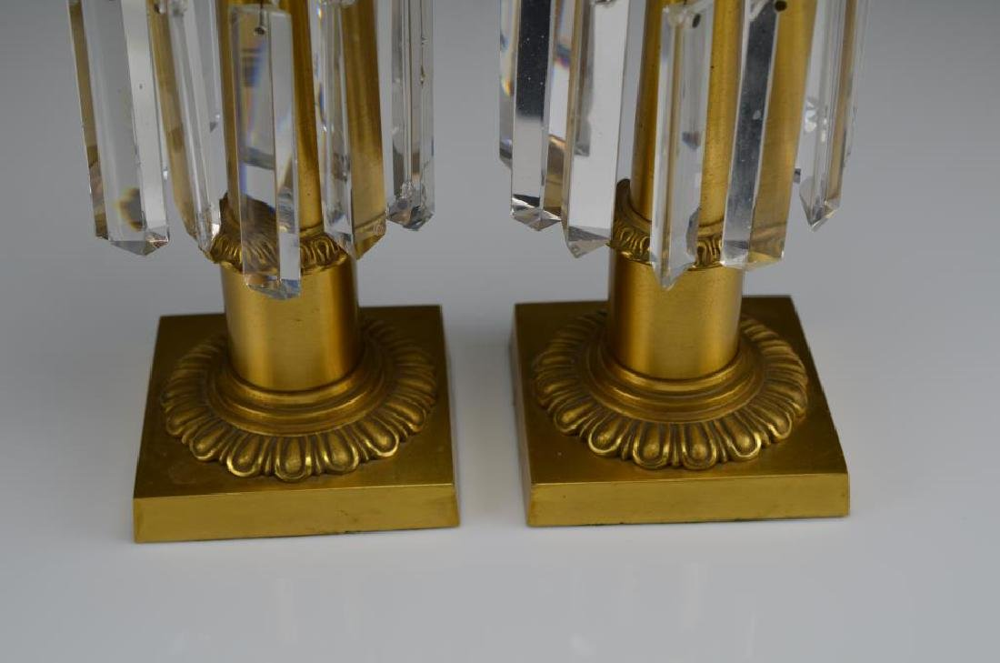 Pair of French gilt bronze lustre candlesticks - 3