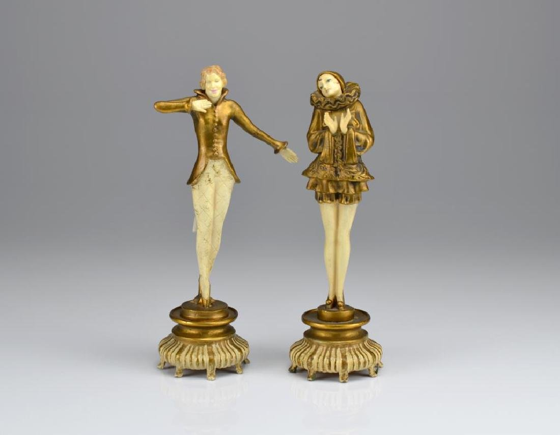 Pair of Art Deco cold painted bronze figures