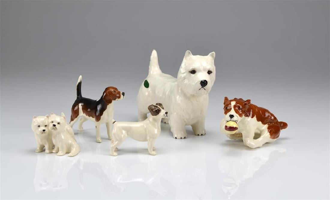 Five Beswick England dog figures
