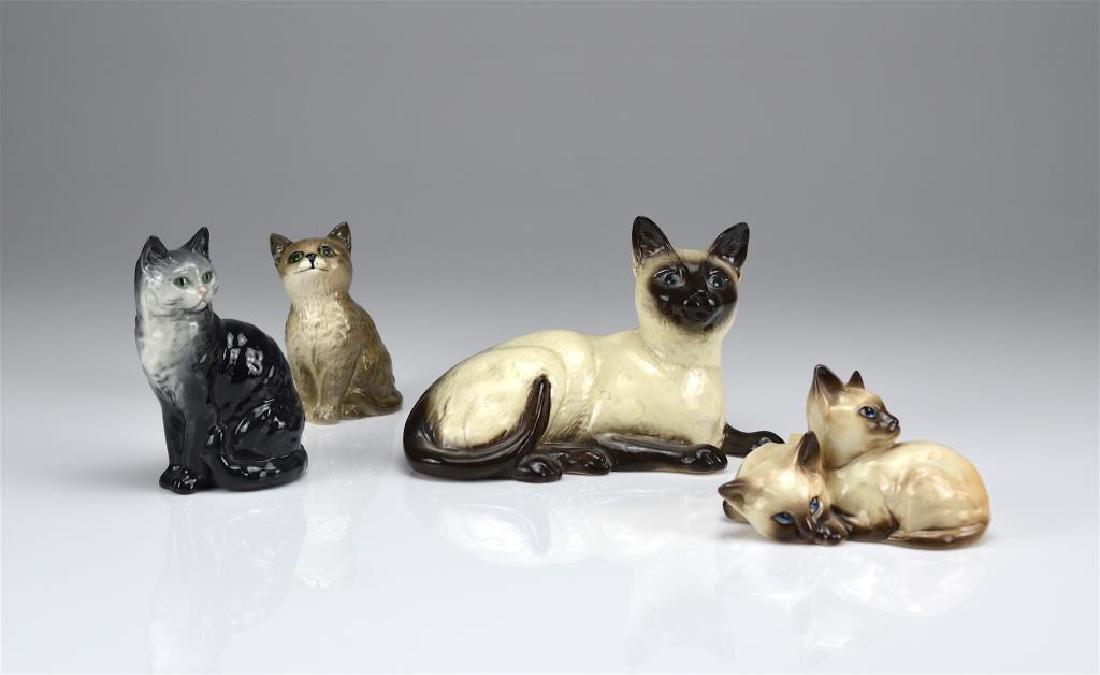 Four Beswick England cat figures