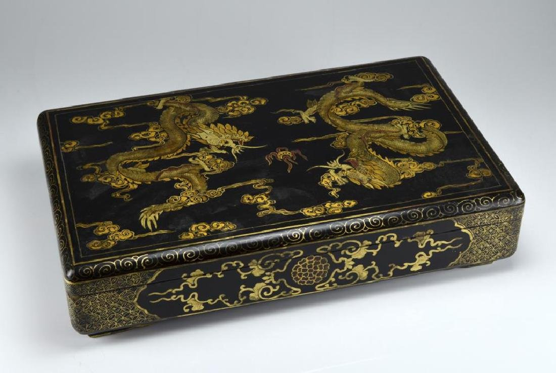 Large Chinese black lacquer box