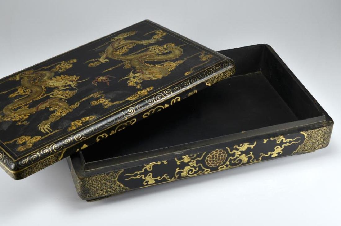 Large Chinese black lacquer box - 2