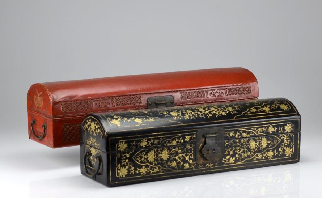 Two Chinese lacquer glove boxes