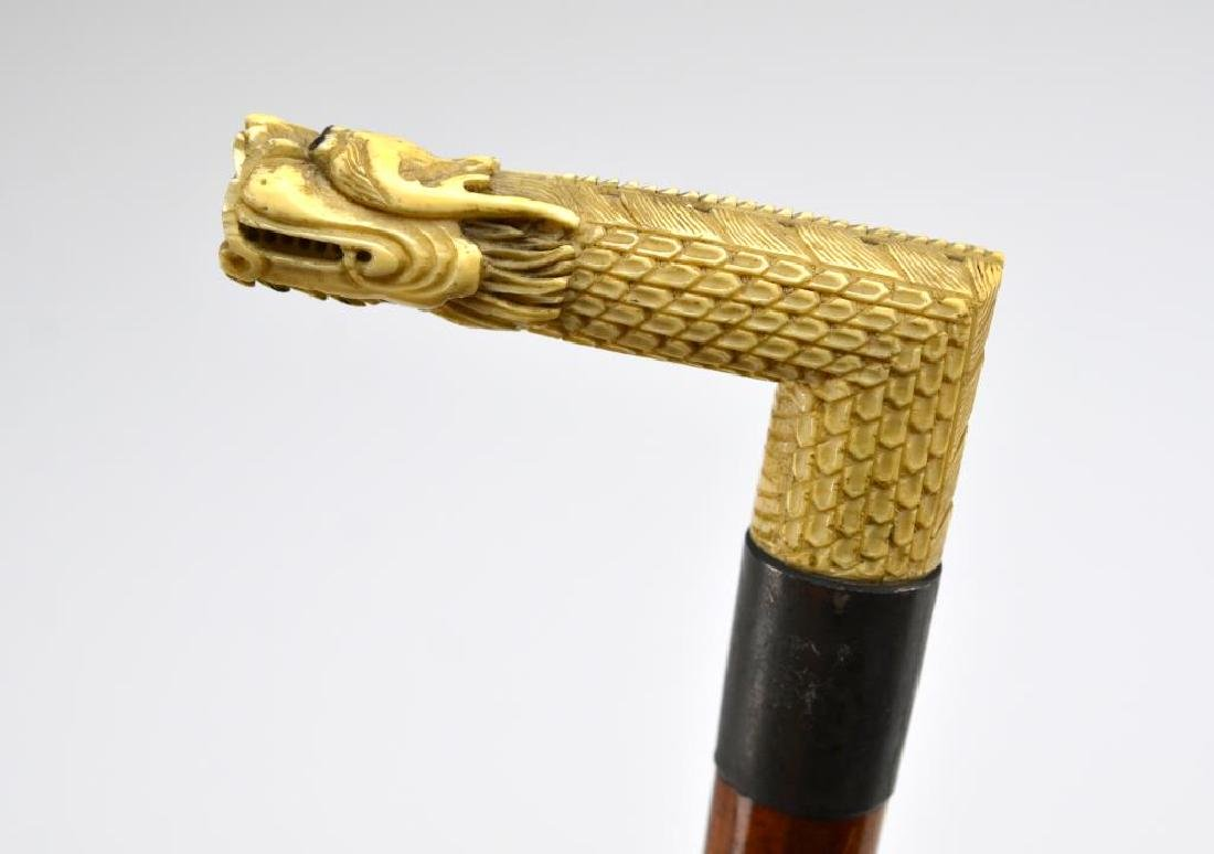 Wood cane w/ Chinese carved dragon form handle - 3