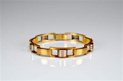 Mixed gold rectangular link bracelet