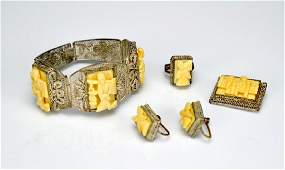 Chinese silver vermeil and bone jewellery suite