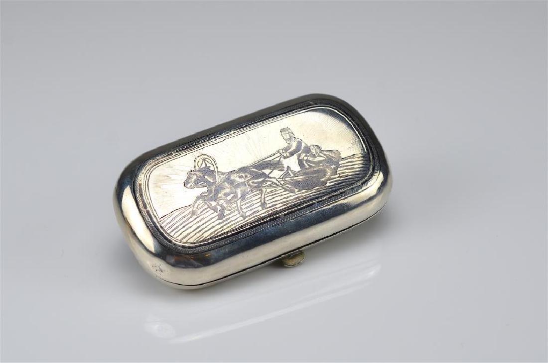 19th C Russian silver niello presentation box
