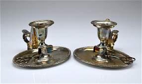 Pair of English Sheffield plate chambersticks