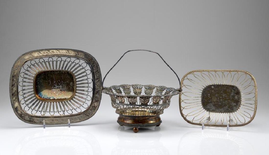 Three silver plate wirework baskets