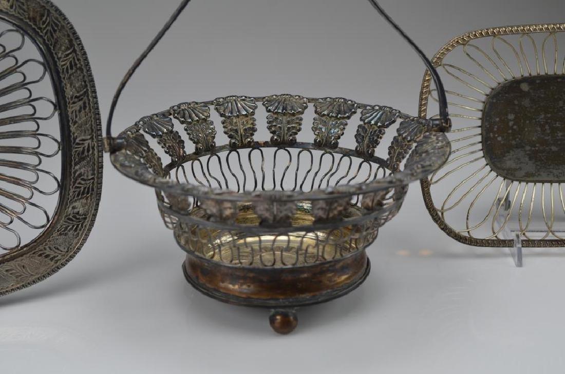 Three silver plate wirework baskets - 4