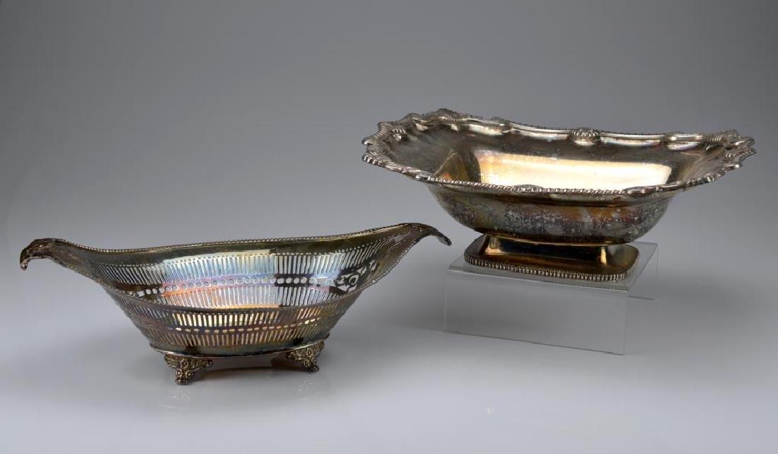Two Sheffield plate cake baskets