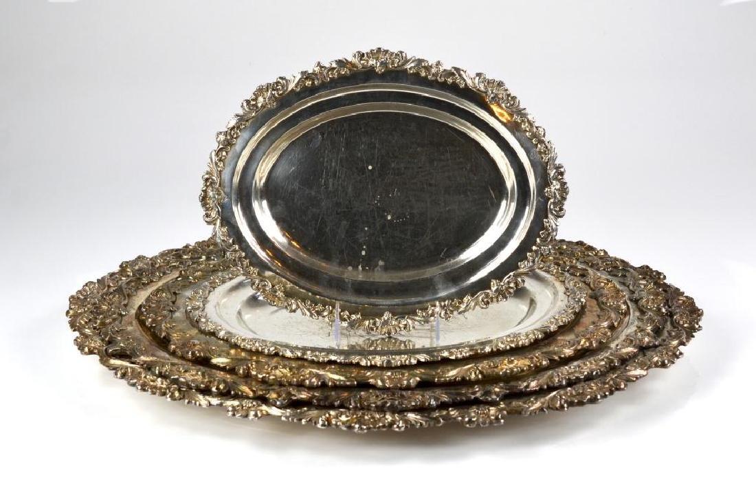 Five graduated Sheffield plate oval platters