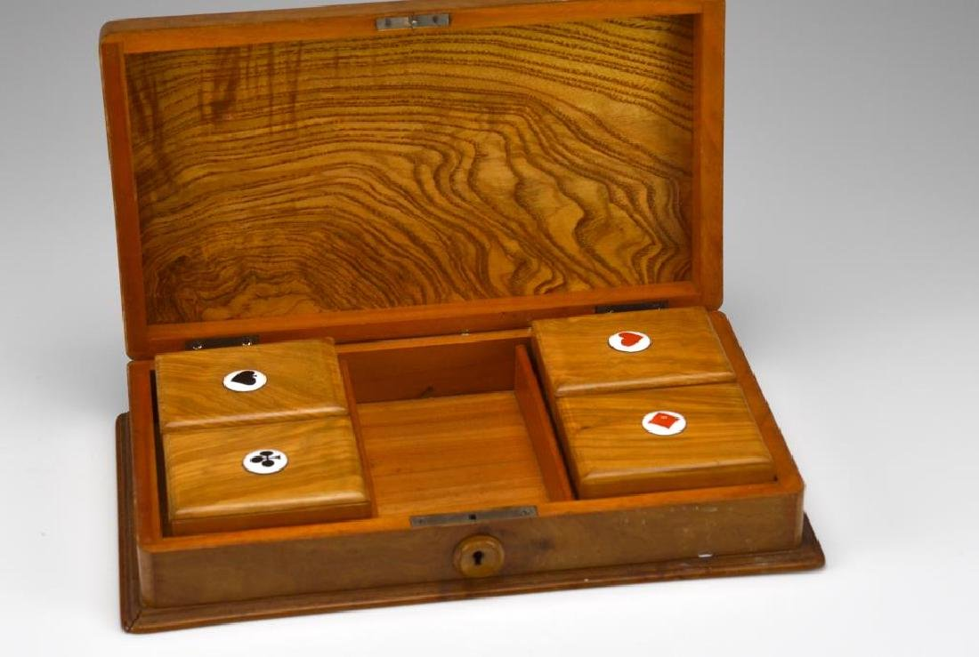 Carved wood cased games set - 2
