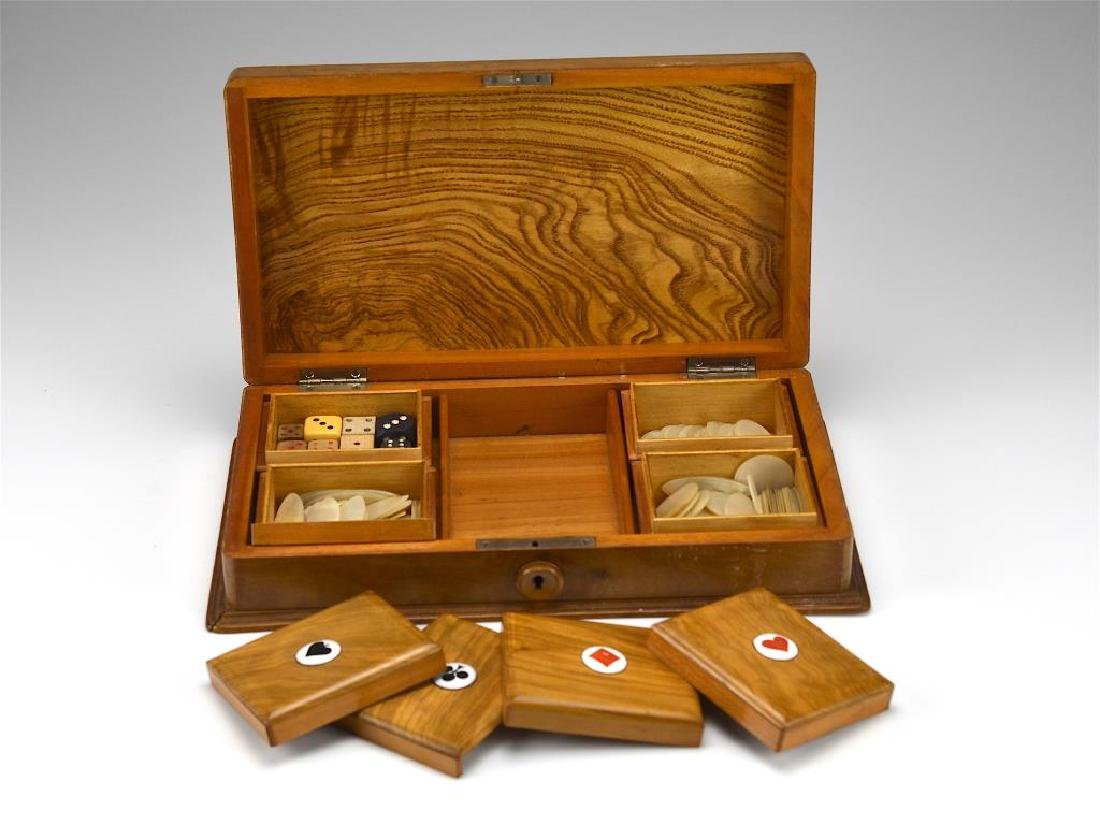 Carved wood cased games set - 3