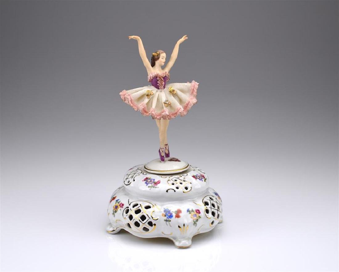 German porcelain music box w/ ballerina figure