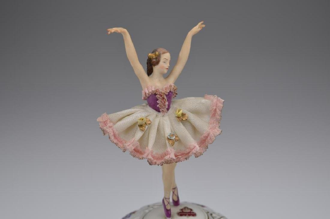 German porcelain music box w/ ballerina figure - 2