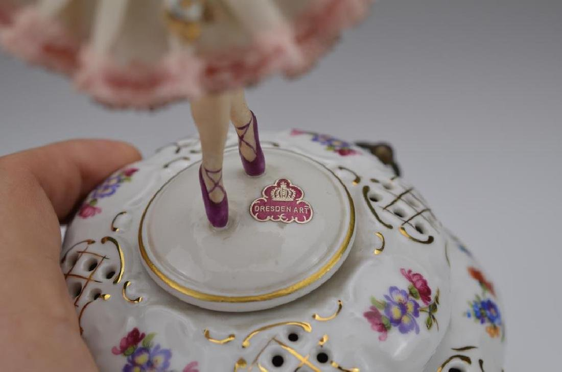 German porcelain music box w/ ballerina figure - 3